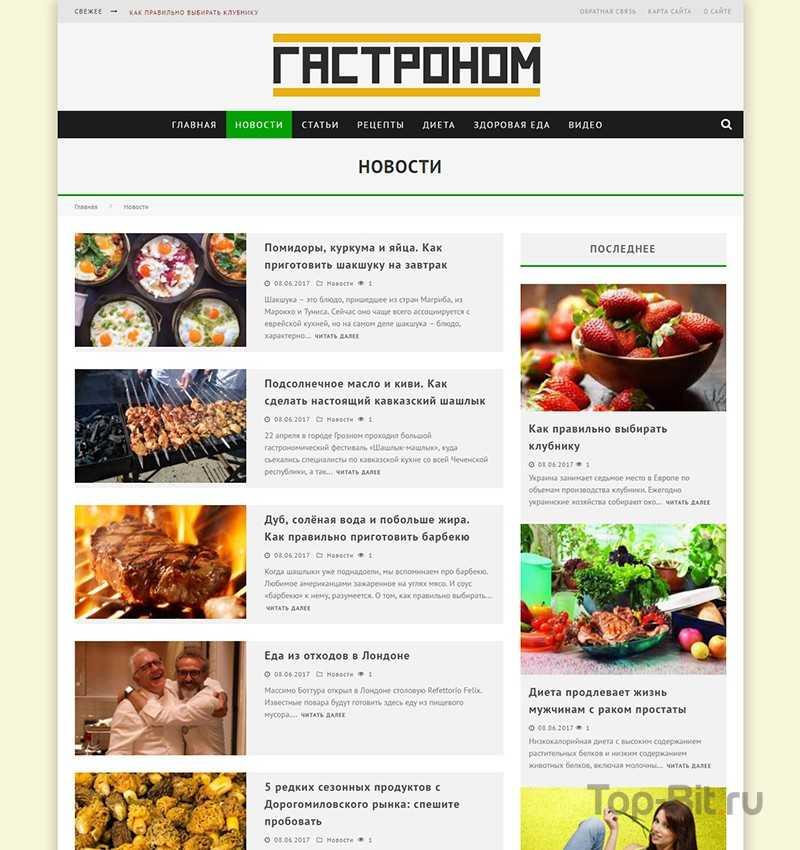 автонаполяемый кулинарный сайт