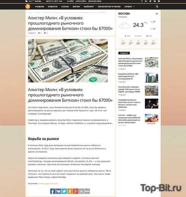 Купить готовый Автонаполняемый новостной финансовый сайт Крипто