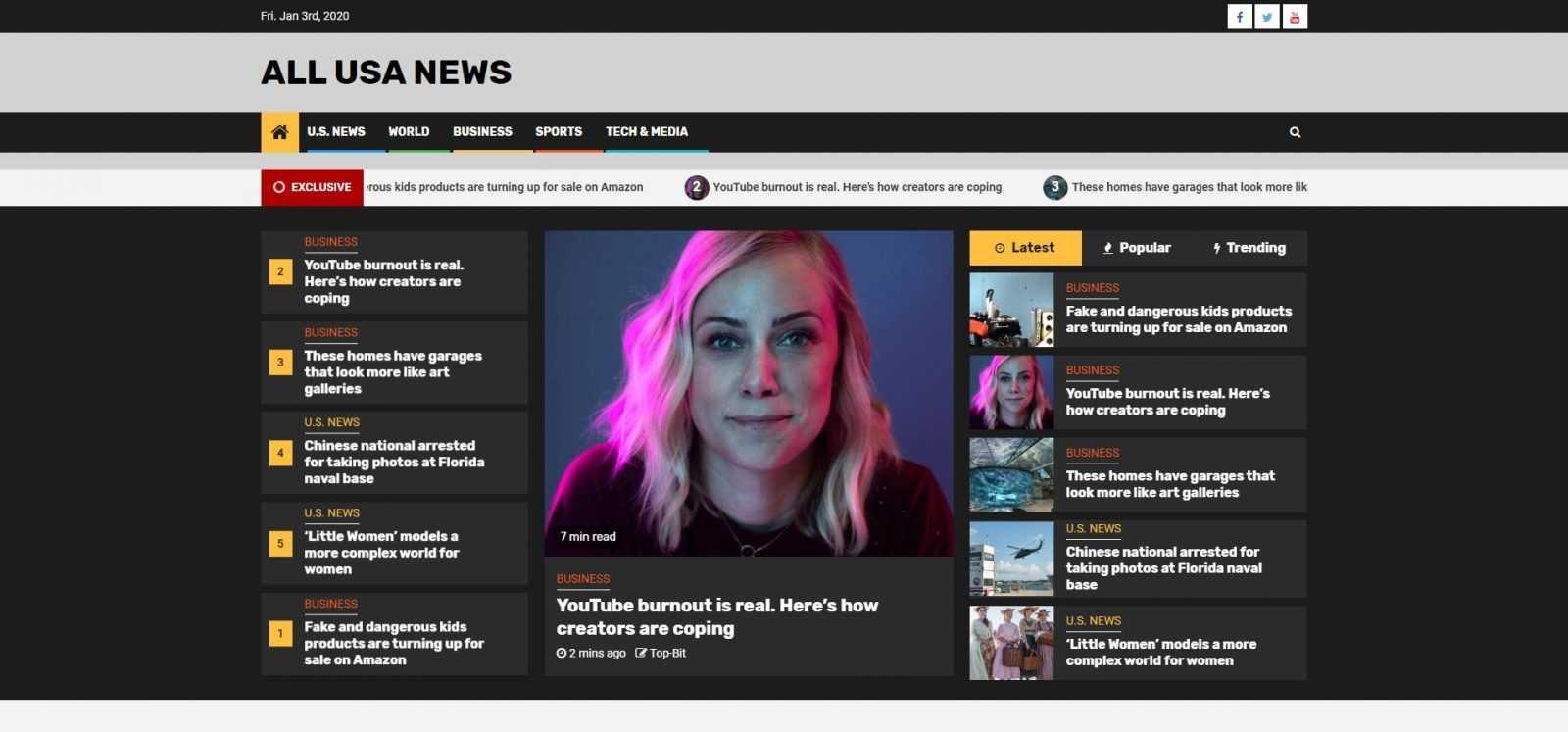 Главная страница сайта Новости США